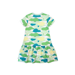 Camo Flash Drop Waist Ruffle Dress (Green)