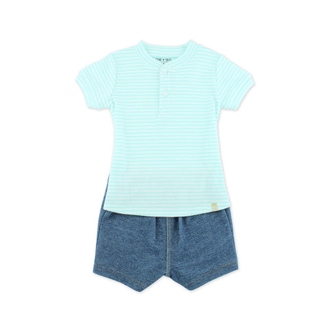 EASYEO Polo Romper with Denim Shorts