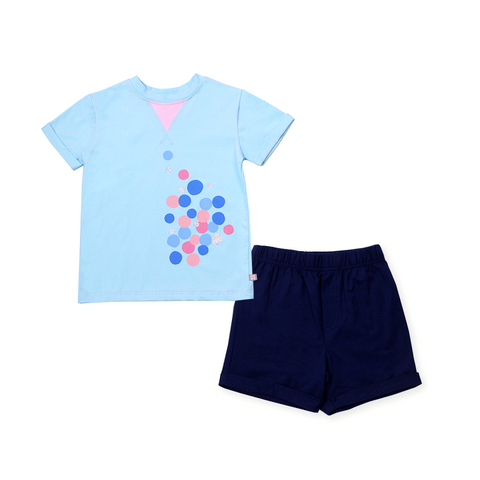 Urban Kids Tri Collar Tee Set (Blue)