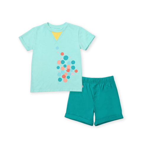 Urban Kids Tri Collar Tee Set (Green)
