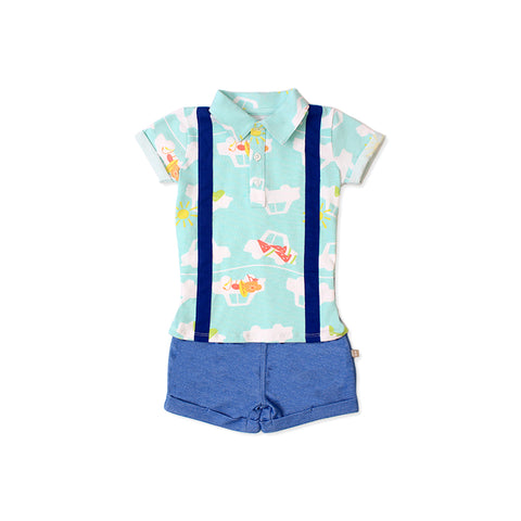 Road Trip EASYEO Suspenders Romper Shorts (Green / Car )