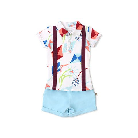Road Trip EASYEO Suspenders Romper Shorts (White / Kite )