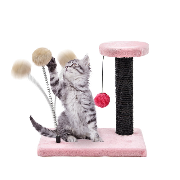 Pet Supplier Cat Scratching Post Pet Funny Climbing Tree Short Plush Soft Material For Kitten Cat Jumping Frame 6 Colors
