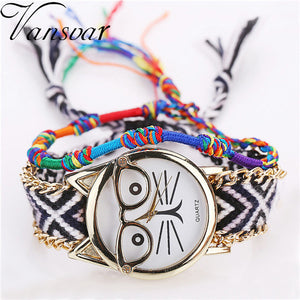 Vansvar Brand Fashion Handmade Braided Friendship Bracelet Watch Ladies Glasses Cat Watches Drop Shipping Relogio Feminino 2023