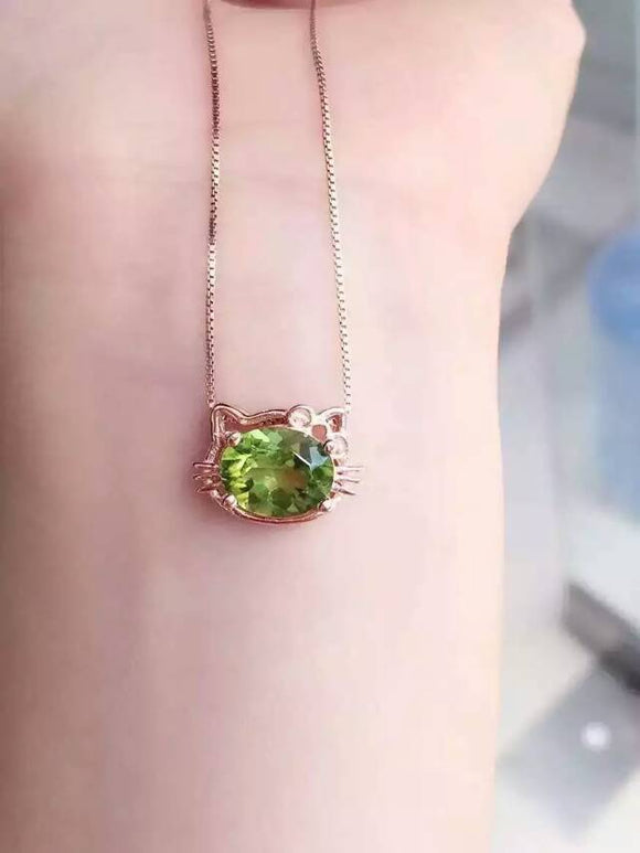 natural green peridot pendant S925 silver Natural olivine Pendant Necklace trendy elegant Lovely cat women party girl jewelry