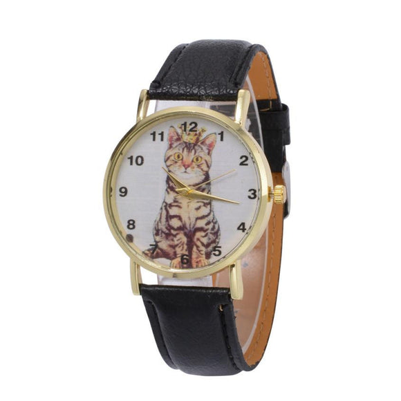 Fashion Lovely Cat Women Watches PU Leather Quartz Wrist Watch For Women Girls reloj mujer Round Watch Women bayan kol saat #63