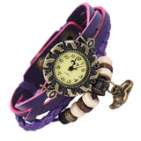 Quartz Weave Around Leather Cat Bracelet Lady Woman Wrist Watch