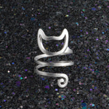 Cute Cat Silver Ring Women Girl Wrap Finger Ring Adjustable Jewelry Gift Black