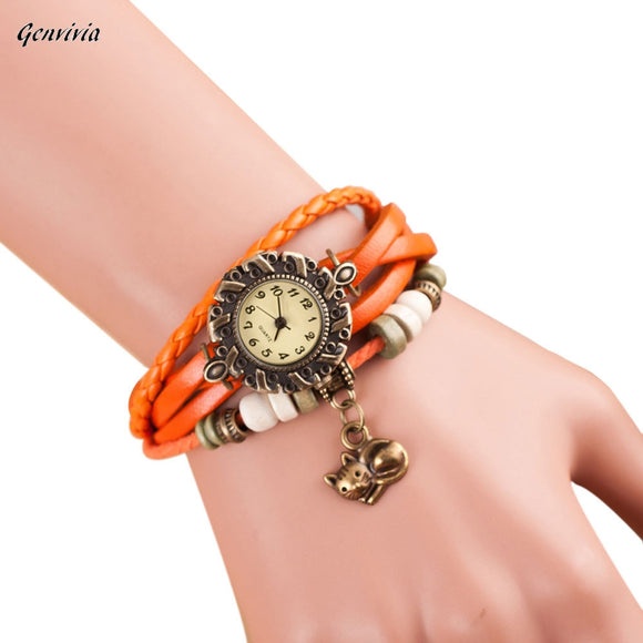 GENVIVIA Bracelet Watch 2017 New Leather Weave Around Cat Quartz WristWatch Lady les femmes Regarder Free Shipping