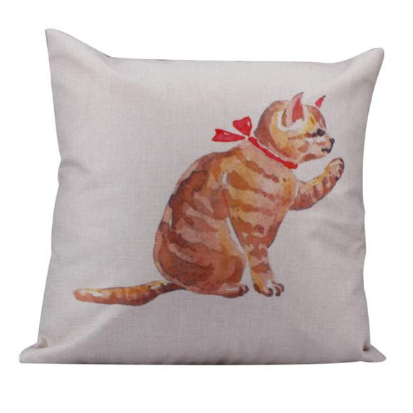 Linen Square Cats Throw Flax Pillow Case Decorative Cushion Pillow Cover
