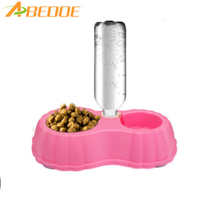 ABEDOE 1pcs Dual Port Dog Automatic Water Dispenser Feeder Bowl Cat Drinking Fountain Food Dish Pet Bowl