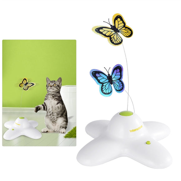 UEETEK Interactive Funny Cat Toys Electric Rotating Butterflies with Metal Wire Cat Teaser Toy