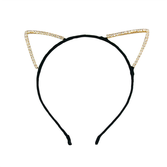 Cute Rhinestone Headband with Cat Ears Fancy Dress for Costume Party