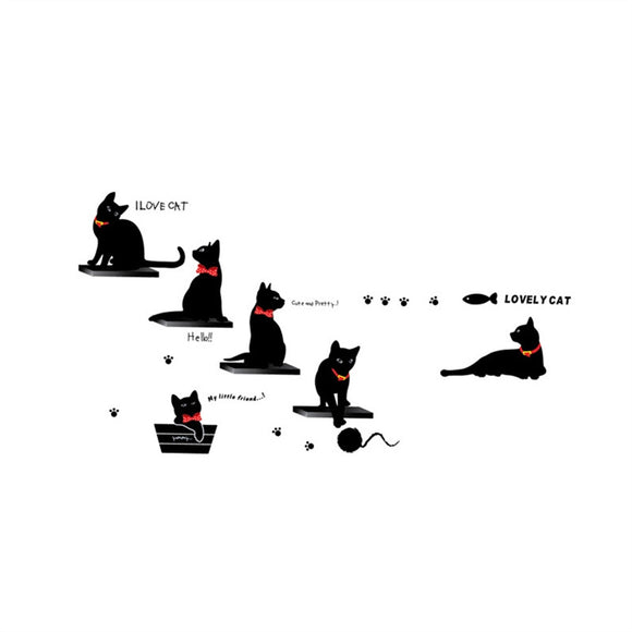 Lovely Black Cats Wall Sticker Removable DIY Murals Wall Art Kids Bedroom Home Decor