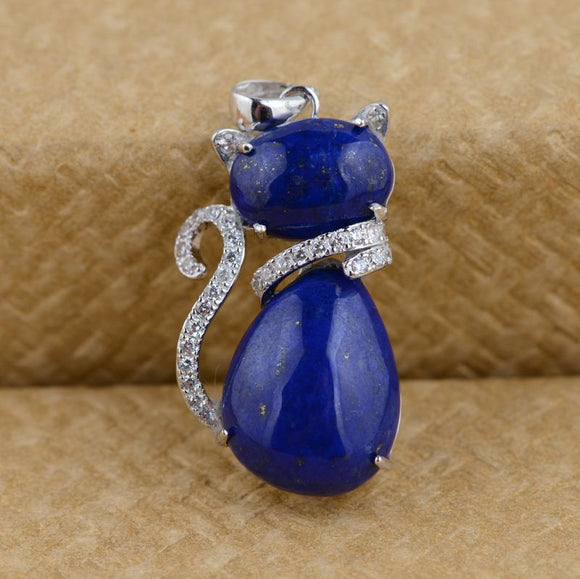 [silver] deer King Lapis Pendant S925 Sterling Silver Wholesale female electroplating micro insert process cat