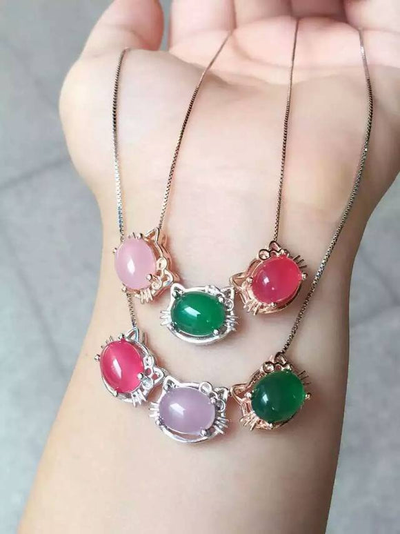natural chalcedony pendant S925 silver Natural gemstone Pendant Necklace trendy elegant Lovely cat women party girl jewelry