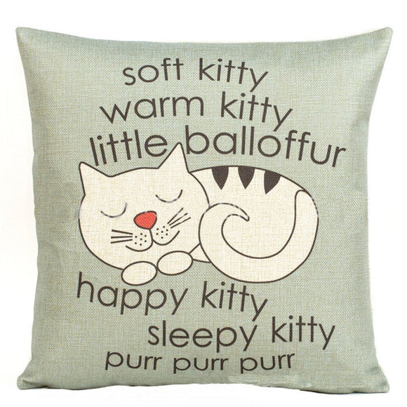 Happy Sleepy Kitty Print Cat Pillowcase Cushions Sofa Decorative Gift 18x18inch