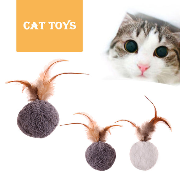5pcs Funny Pet Toy Ball Dog Cat Play Squeaky Squeaker Feather Mint Toy Cat Teaser Playing Ball Cat Toy Chew Ball