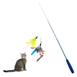 Connective Cat Stick Toy Wire Chaser + 2pcs Replaceable Feather Interactive Stick Toys Wire Chaser Wand Toy
