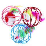 3pcs Funny Pet Kitten Cat Playing Mouse Rat Mice Ball Cage Toys False Feather Ball Cage Toy Juguetes Para Gatos Cat Supplies