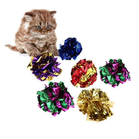 6/12/24Pcs Cat Toy Mylar Balls Colorful Ring Paper Shiny Crinkly Balls Sound Toys for Cat Kitten Interactive Ring Paper Ball