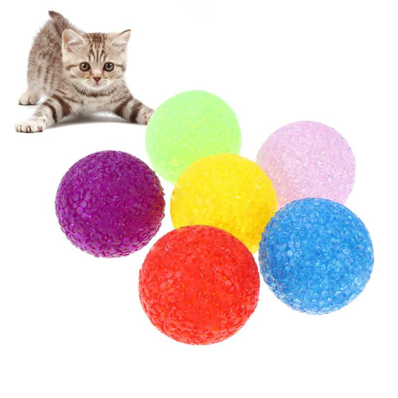 6pcs/lot Particle Plastic Balls Interactive Cat Toys Colorful Cat Playing Toy with Bell Chewing Ball Training Pet Supplies S/M/L