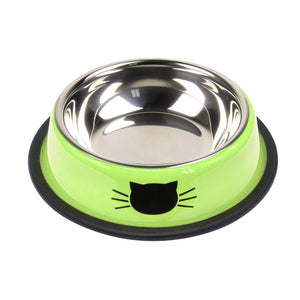 Stainless Steel Cat Bowl Kitten Puppy Feeding Food Dish Pet Puppy Drink Water Bowl