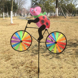 Cute 3D Animal on Bike Windmill Wind Spinner Whirligig Garden Lawn Yard Decor Garden Ornaments