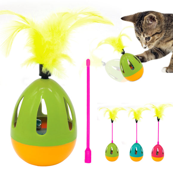 Interactive Dog Cat Toy Feather Pet Sound Squeak Ball Toys Pets IQ Training Playing Scratching Cats Wand With Bell For Dogs Cats