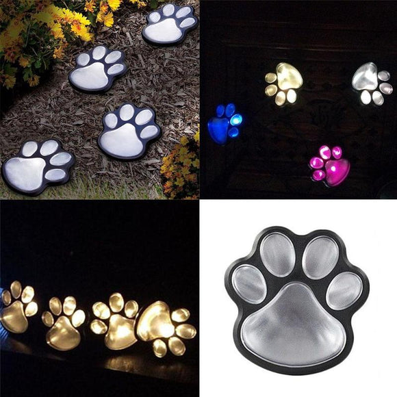 4 LED Solar Powered Cat Animal Paw Print Lights Garden Outdoors Lantern LED Path Walkway Lawn Light Cat Paw Footprints Lamp