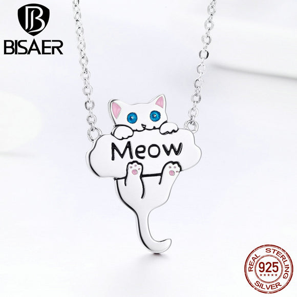 BISAER Hot Sale 100% 925 Sterling Silver Cat Meow Cute Pussy Pendant Necklaces Women Sterling Silver Jewelry Brincos S925 GXN210