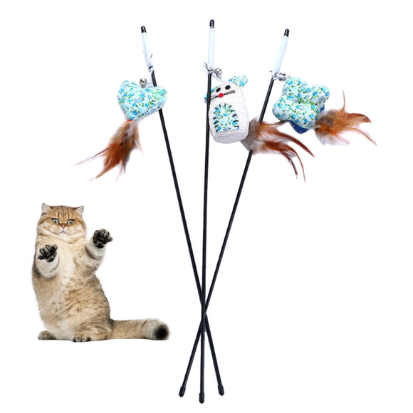 Fun Cats Stick Toy Feather Wand Toys Mint Cat Teaser Wand Interactive Products Cat Toy Mint Length 15cm