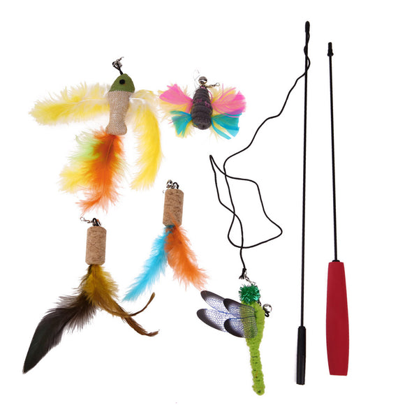 Connective Cat Stick Toy Wire Chaser + 5pcs Replaceable Animal Feather Toys Pet Cat Playing Training Catching Toys