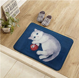 40*60cm Blue Cartoon Cats Floor/Door Mats Home Bedroom Hall Thick Carpet Foot Pads Thicker Absorbent Non-slip Rug Pet Mat