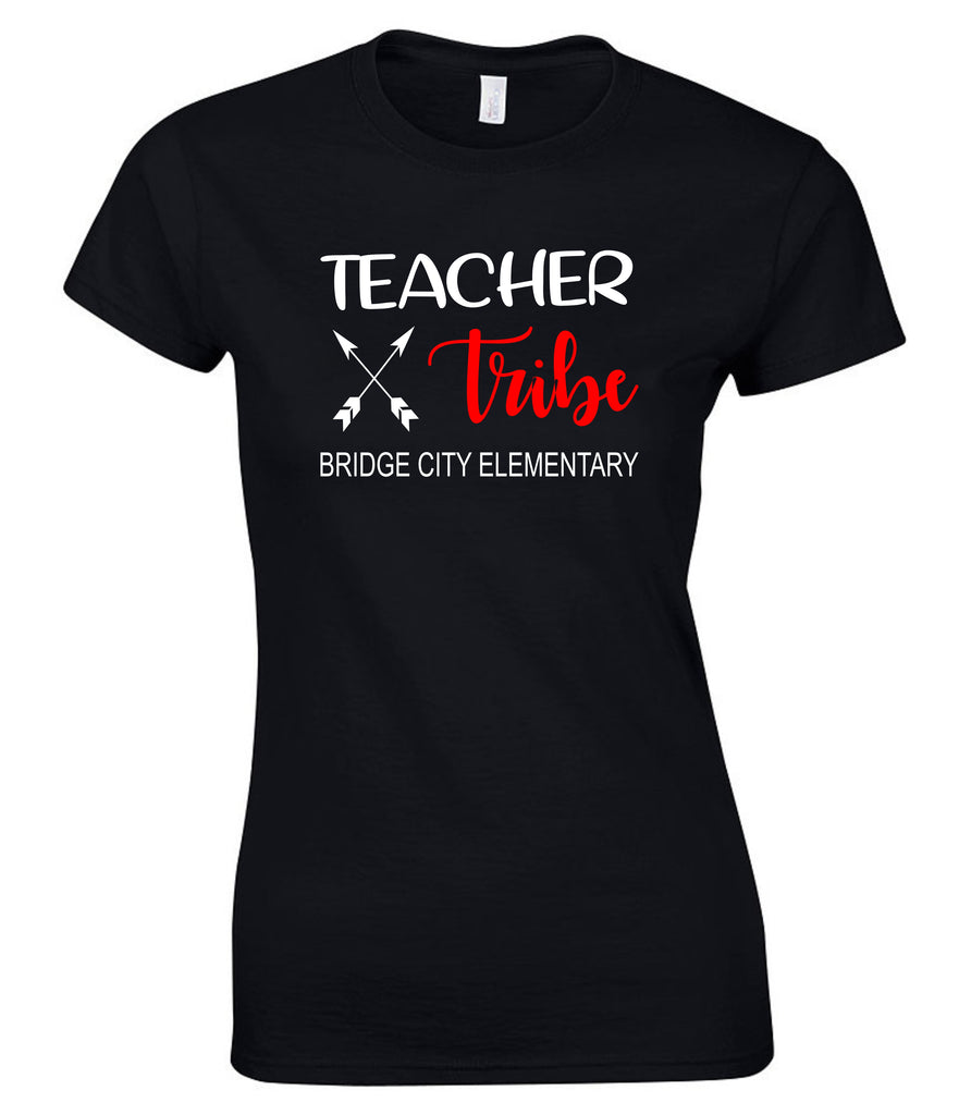 """Teacher Tribe"" Red & White Ladies Tee T-Shirts - TruColors Art & Design"