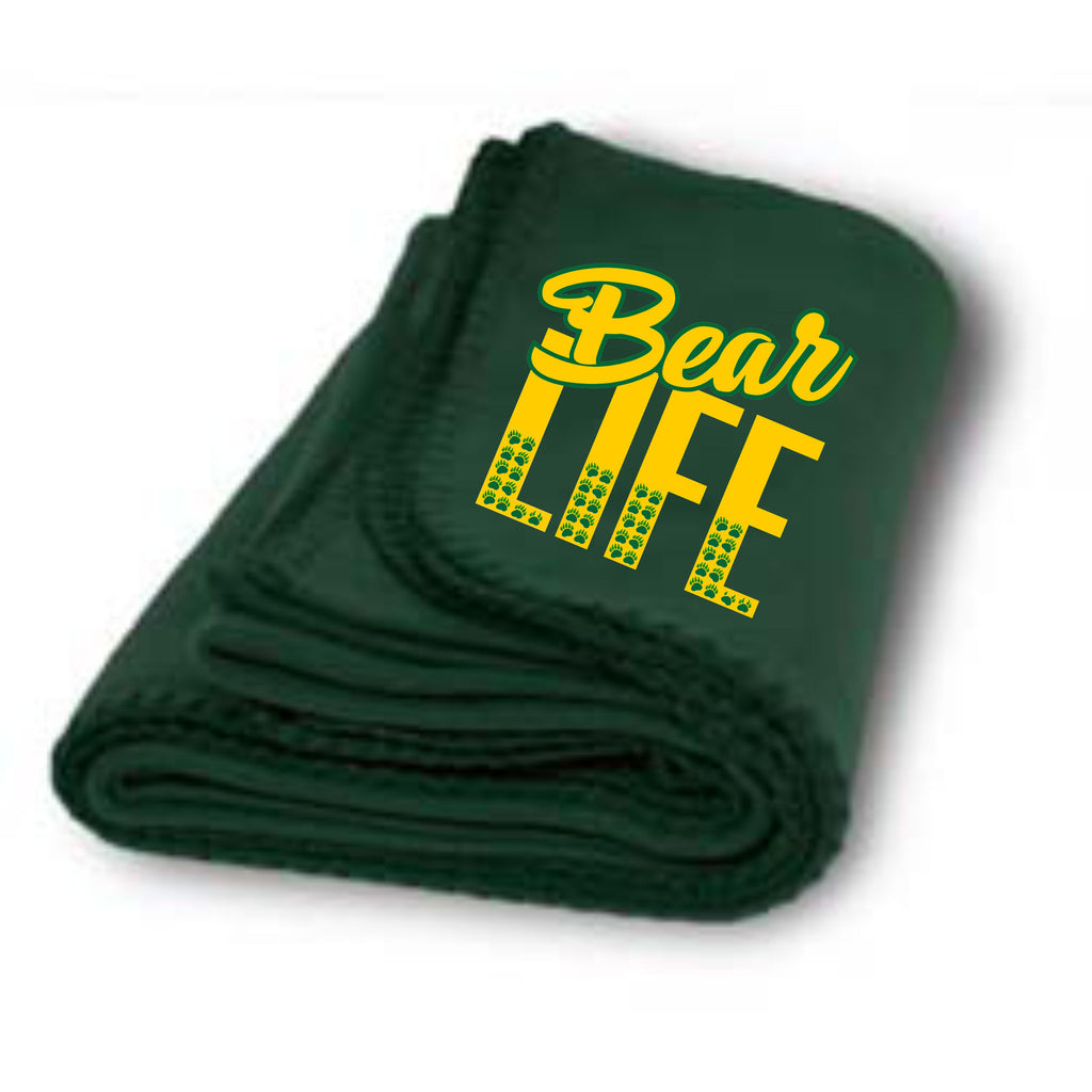 Bear Life Stadium Fleece Blanket School Spirit - TruColors Art & Design