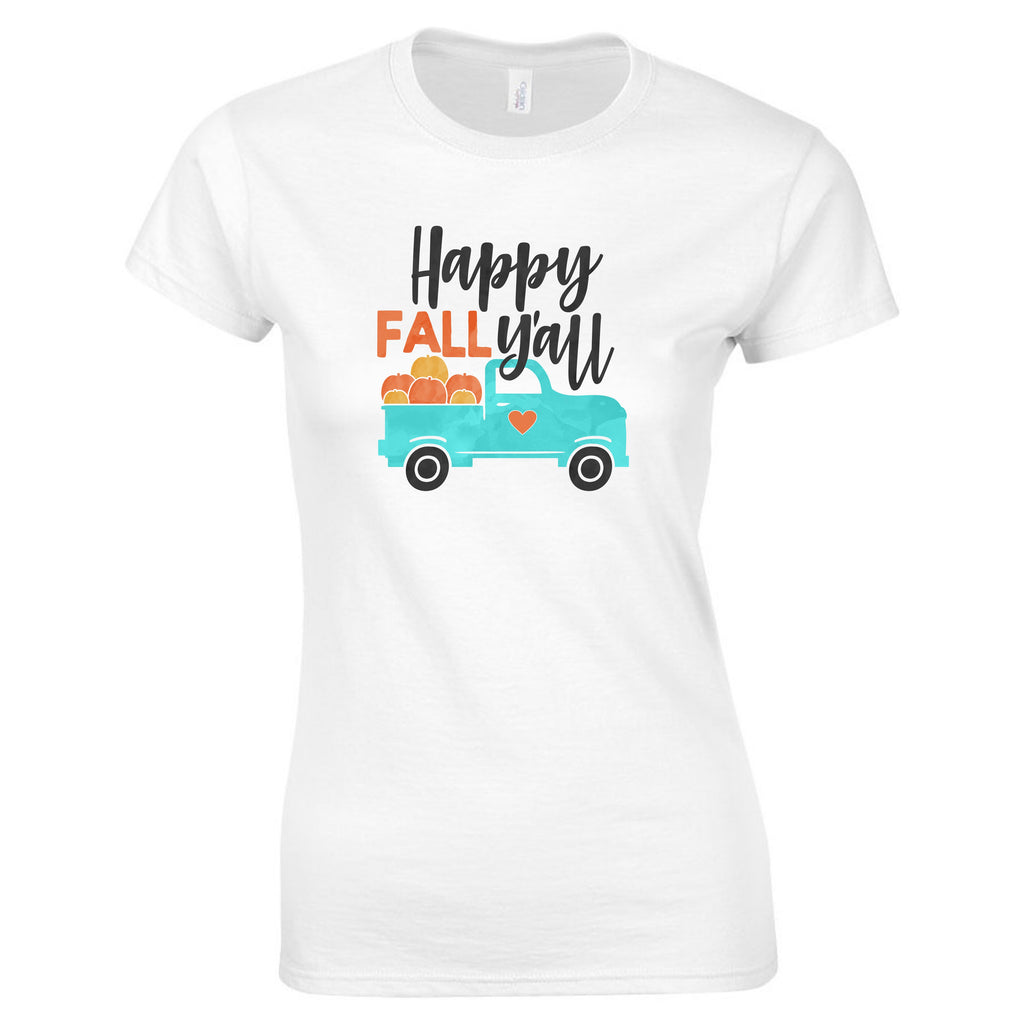 """Happy Fall Y'all"" Women's T-Shirt T-Shirts - TruColors Art & Design"