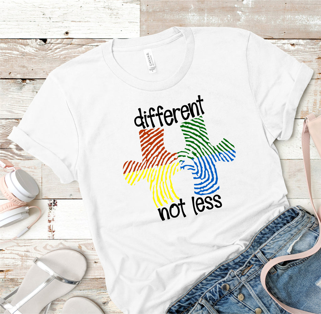"Autism ""Different Not Less"" Ladies Tee"
