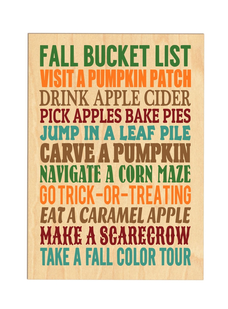 Fall Bucket List Wooden Sign sign - TruColors Art & Design