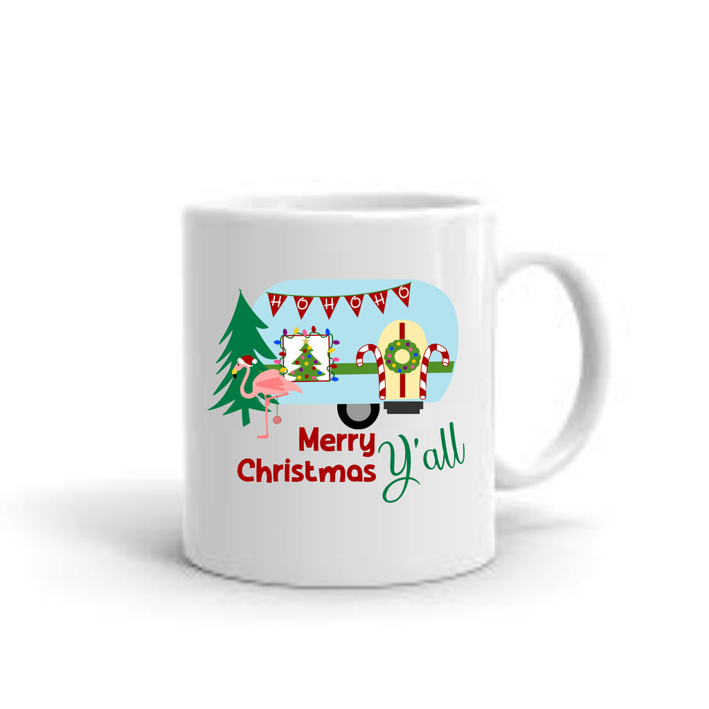 """Merry Christmas Y'all"" Christmas Camper Coffee Mug mug - TruColors Art & Design"
