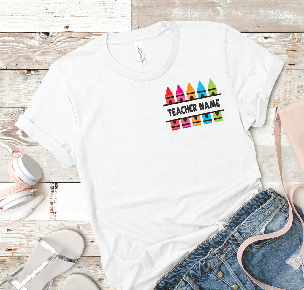Teacher's Name - Crayons - Women's Tee