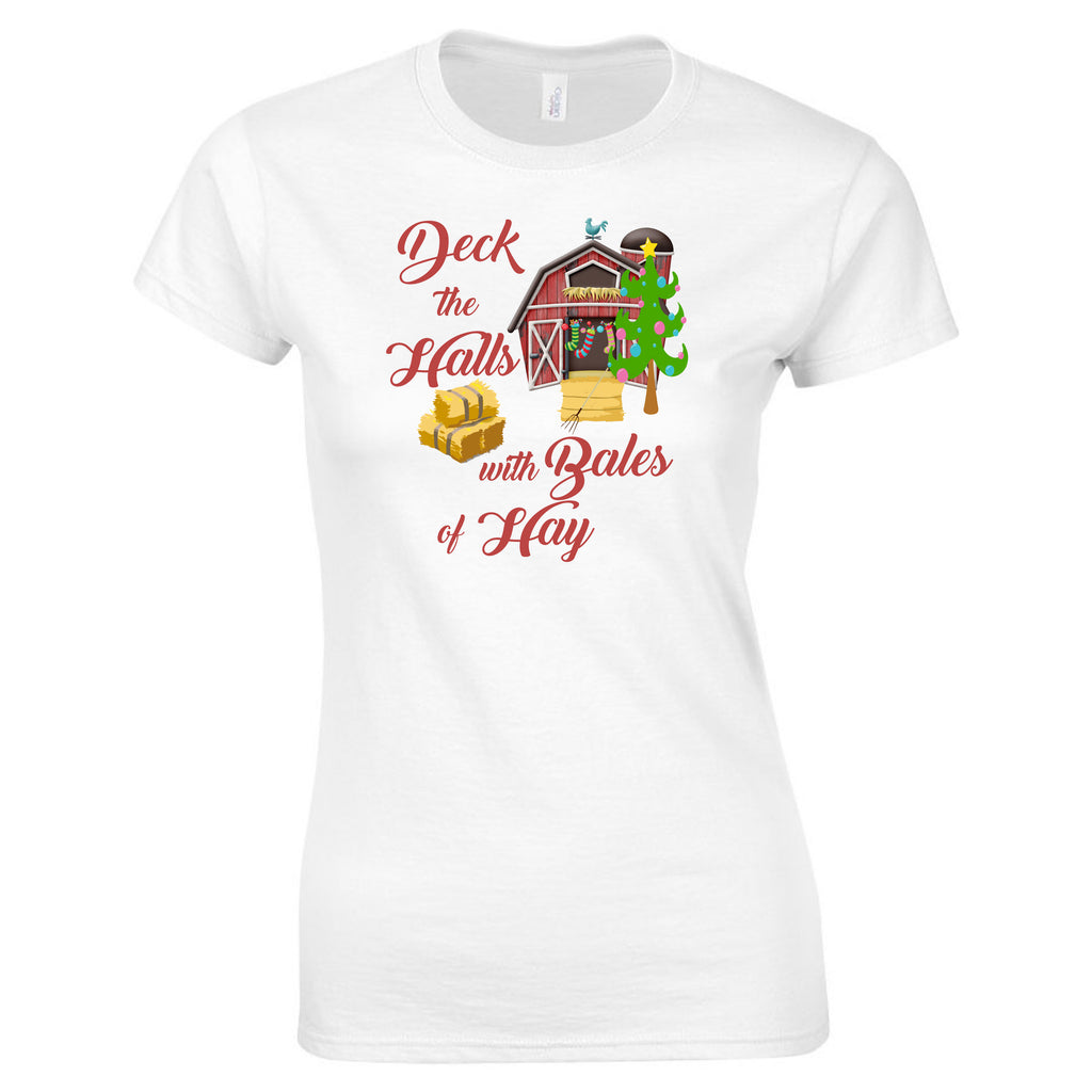 """Deck The Halls"" Ladies Christmas Tee T-Shirts - TruColors Art & Design"