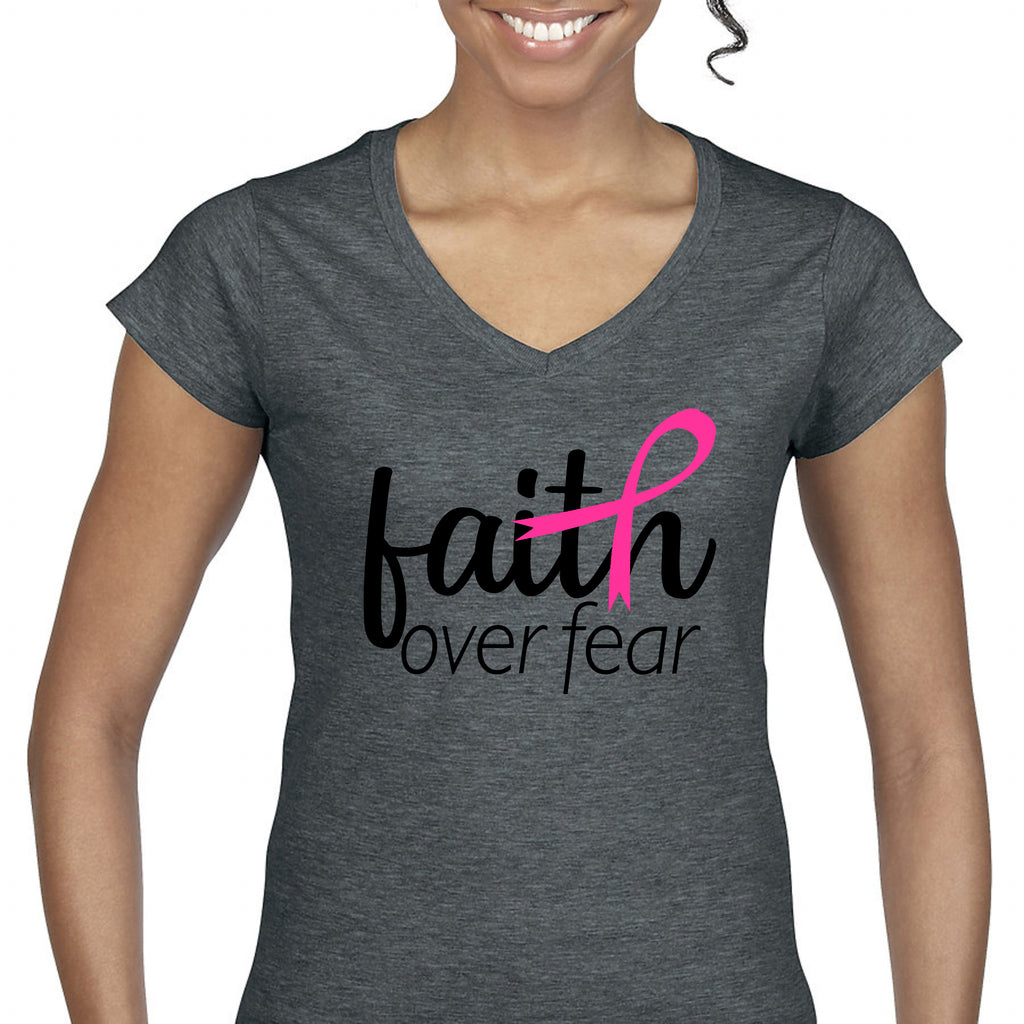 """Faith Over Fear"" Breast Cancer Awareness Women's Tee T-Shirts - TruColors Art & Design"