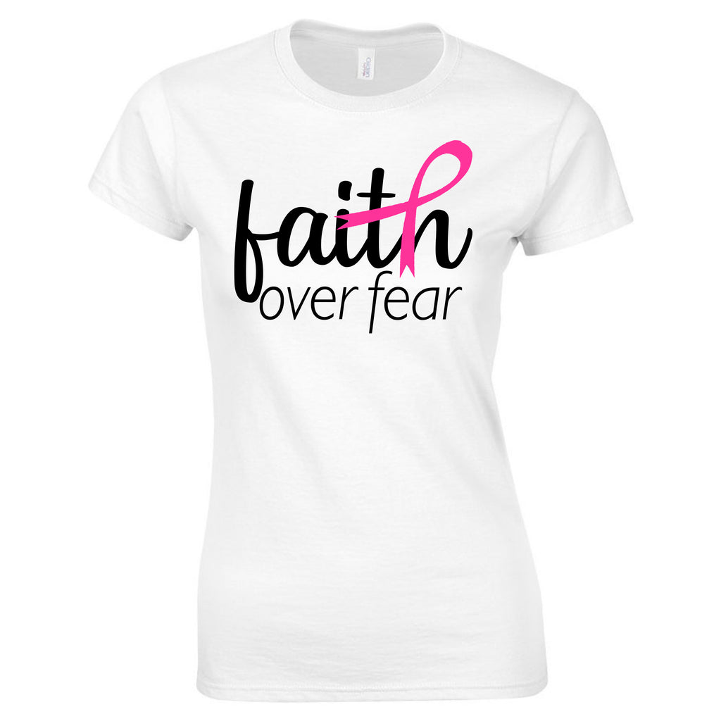 """Faith Over Fear"" Breast Cancer Awareness Tee T-Shirts - TruColors Art & Design"