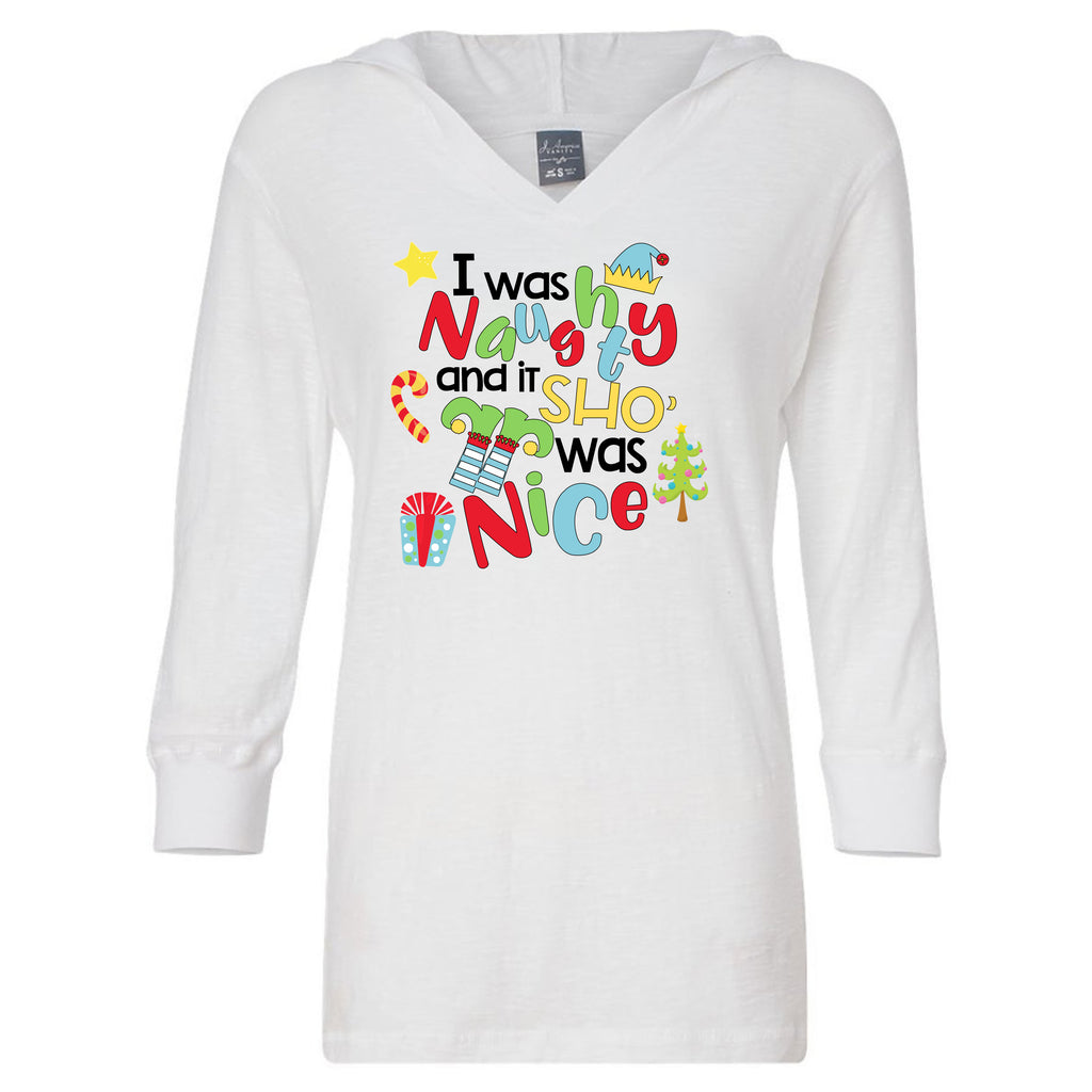 I Was Naughty Ladies Christmas Hoodie T-Shirts - TruColors Art & Design