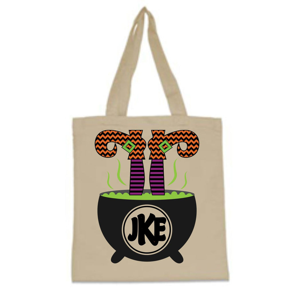 Monogrammed Witch Legs Trick-Or-Treat Bag Bags - TruColors Art & Design