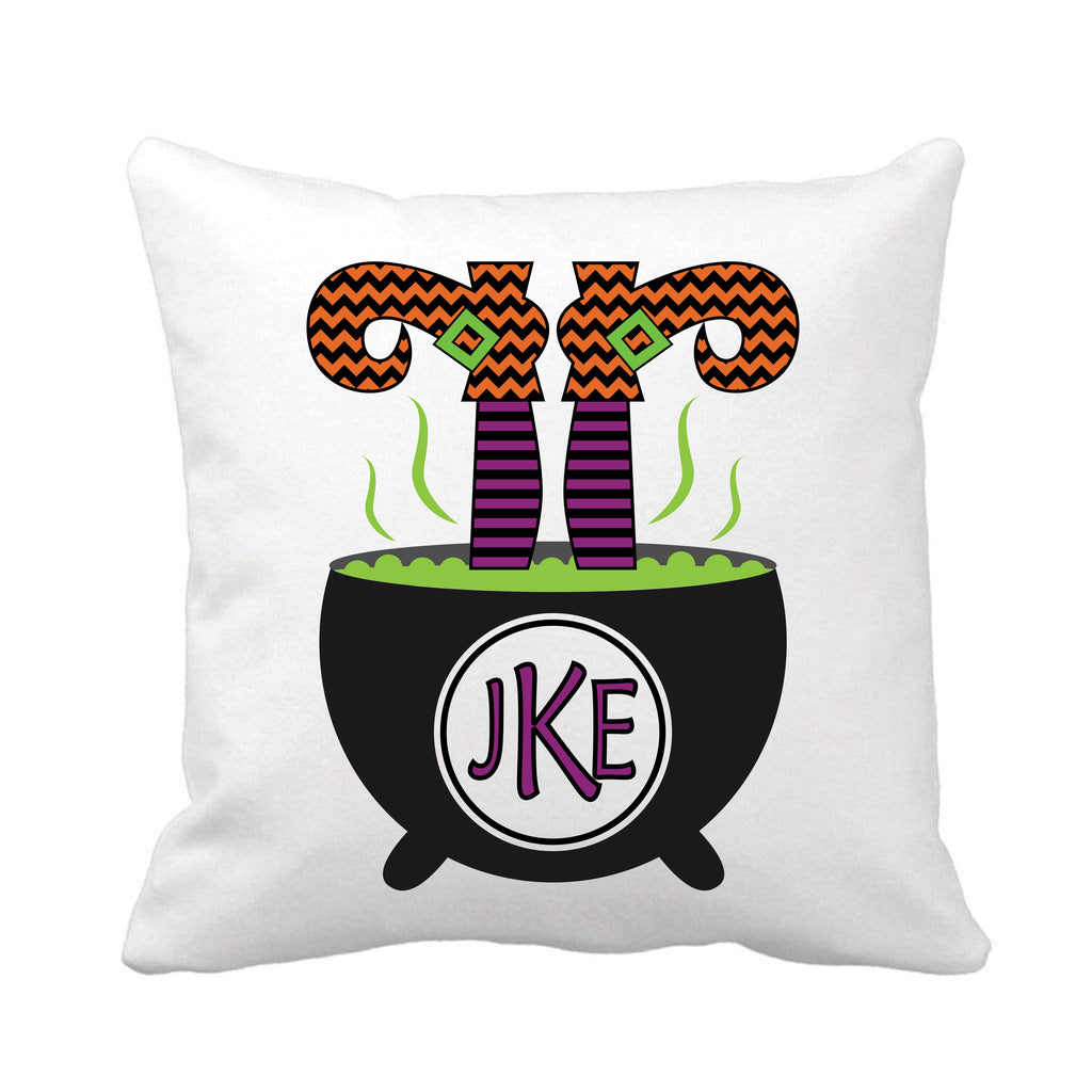 Witches Legs Monogrammed Halloween Throw Pillow pillow - TruColors Art & Design
