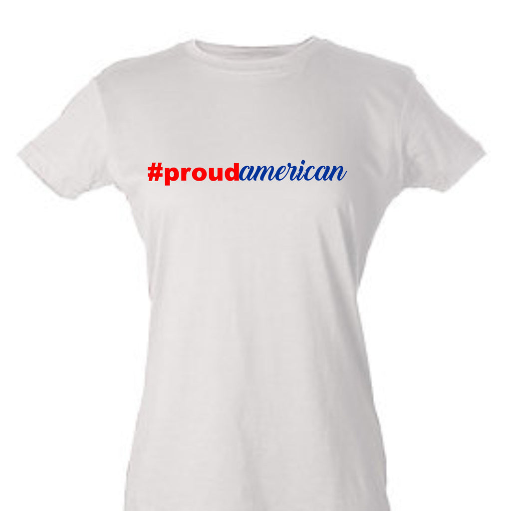 Proud American Women's T-Shirt T-Shirts - TruColors Art & Design