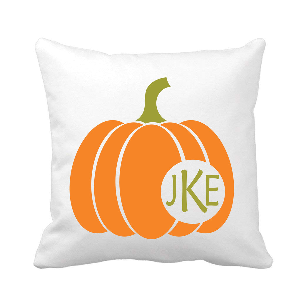 Pumpkin Monogrammed Throw Pillow pillow - TruColors Art & Design