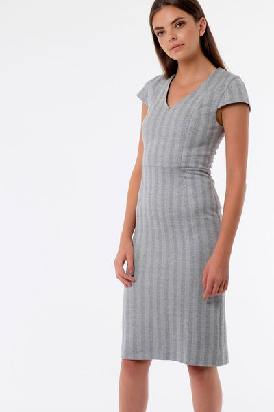 Herringbone V-Neck Dress
